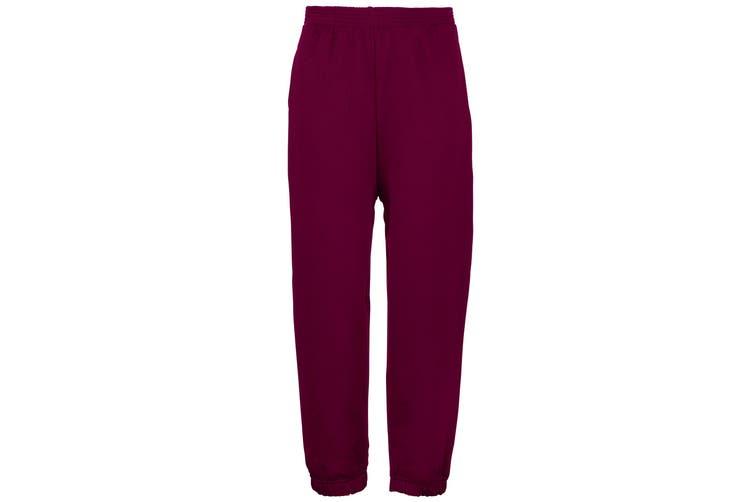 Maddins Kids Unisex Coloursure Jogging Pants / Jog Bottoms / Schoolwear (Pack of 2) (Burgundy) (30)