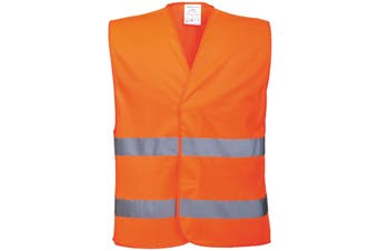 Portwest Unisex High Visibility Two Band Safety Work Vest (Pack of 2) (Orange) (LXL)