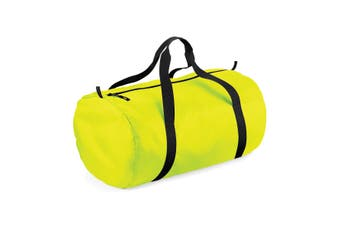 BagBase Packaway Barrel Bag / Duffle Water Resistant Travel Bag (32 Litres) (Pack of 2) (Fluorescent Yellow/ Black) (One Size)
