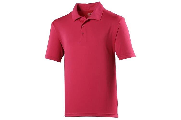 Just Cool Mens Plain Sports Polo Shirt (Hot Pink) (3XL)