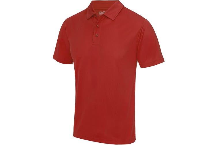 Just Cool Mens Plain Sports Polo Shirt (Fire Red) (2XL)