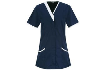 Premier Womens/Ladies Daisy Healthcare Work Tunic (Pack of 2) (Navy/ White) - UTRW6927