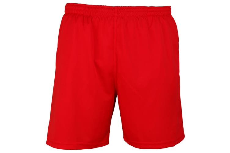 Just Cool Mens Sports Shorts (Fire Red) (XL)