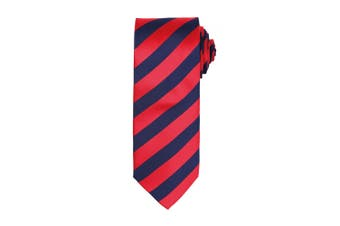 Premier Mens Club Stripe Pattern Formal Business Tie (Pack of 2) (Red/Navy) (One Size)
