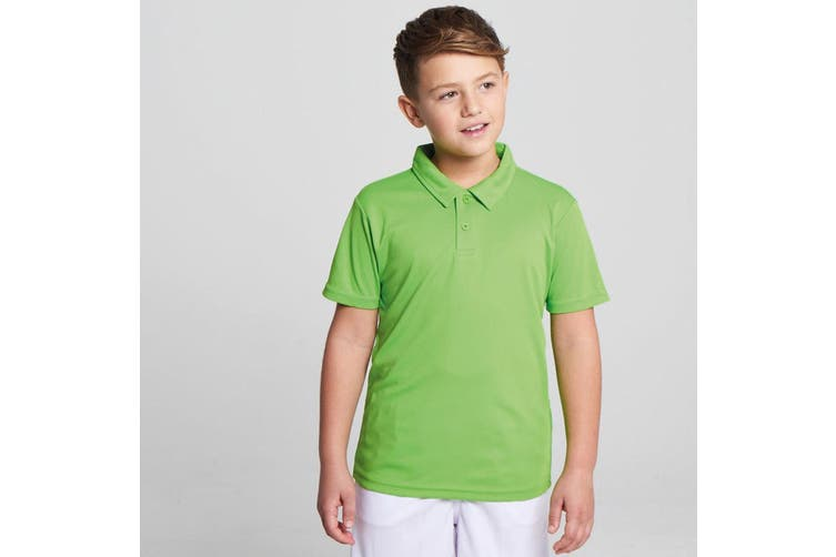 Just Cool Kids Unisex Sports Polo Plain Shirt (Lime) (5-6 Years)