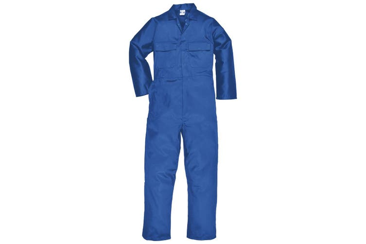 Portwest Mens Euro Work Polycotton Coverall (S999) / Workwear (Pack of 2) (Royal) (L x Regular)