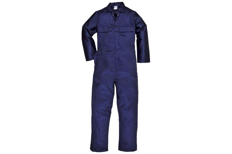 Portwest Mens Euro Work Polycotton Coverall (S999) / Workwear (Pack of 2) (Navy) (M x Long)