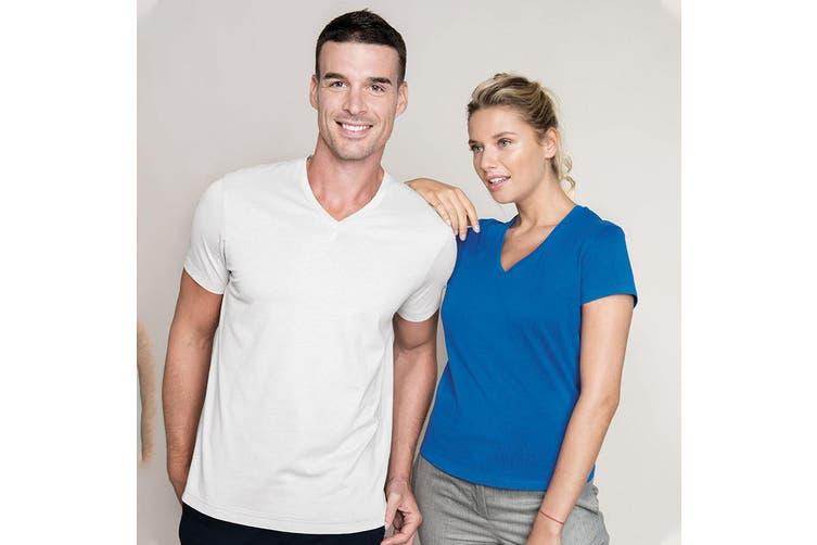 Kariban Mens Short Sleeve V Neck Slim Fit T-Shirt (White) (M)