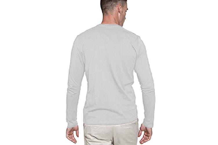 Kariban Mens Slim Fit Long Sleeve Crew Neck T-Shirt (White) (L)