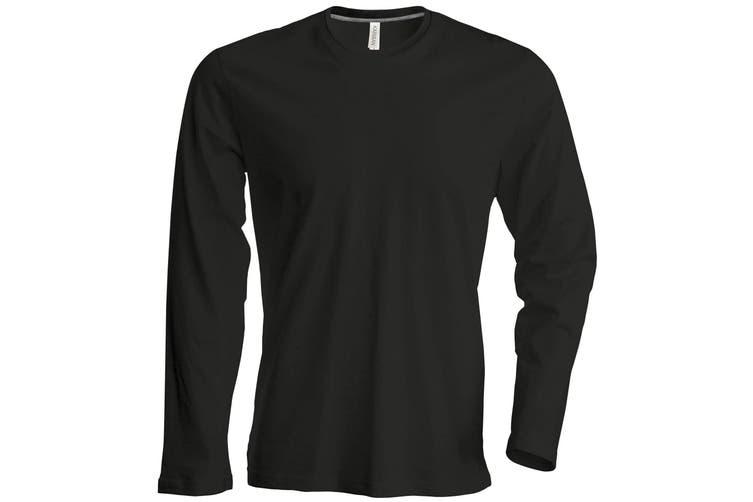 Kariban Mens Slim Fit Long Sleeve Crew Neck T-Shirt (Black) (2XL)