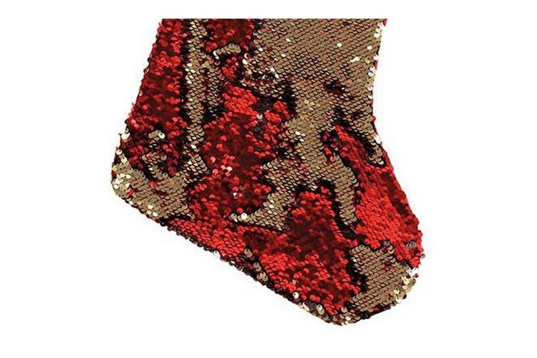Christmas Shop Reversible Sequin Xmas Stocking (Red/Gold) (One Size)
