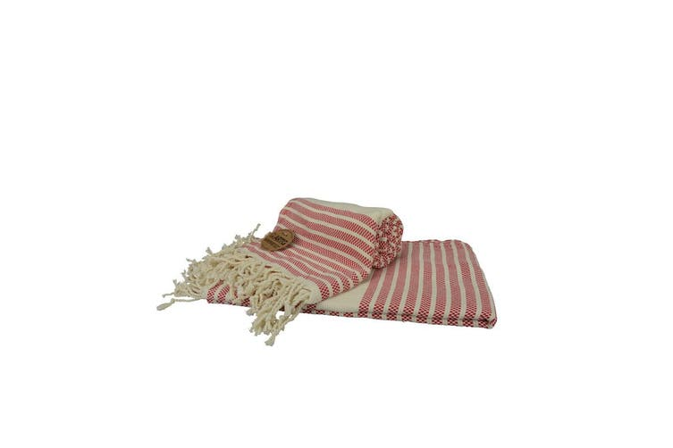A&R Towels Hamamzz Peshtemal Traditional Woven Towel (Classic Red/ Cream) (One Size)