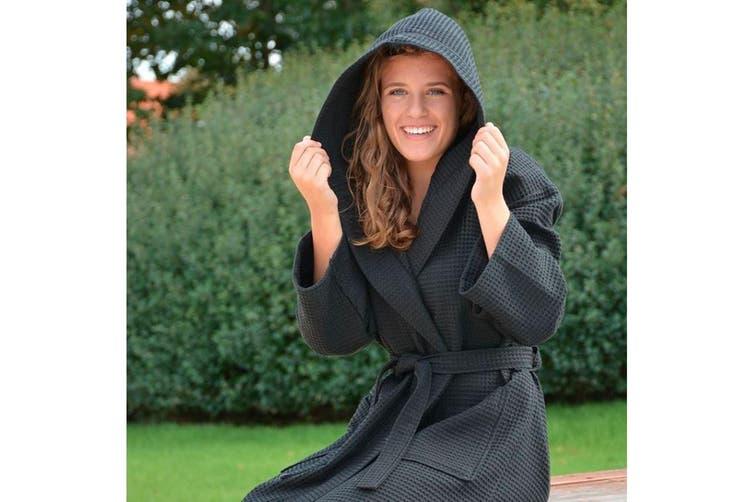 A&R Towels Womens/Ladies Waffle Hooded Bathrobe (Black) (S/M)
