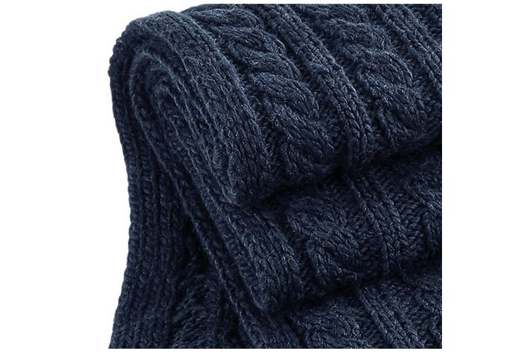 Beechfield Unisex Cable Knit Melange Scarf (Navy) (One Size)