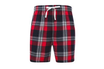 Skinni Fit Mens Tartan Lounge Shorts (Red/Navy Check) (XXL)