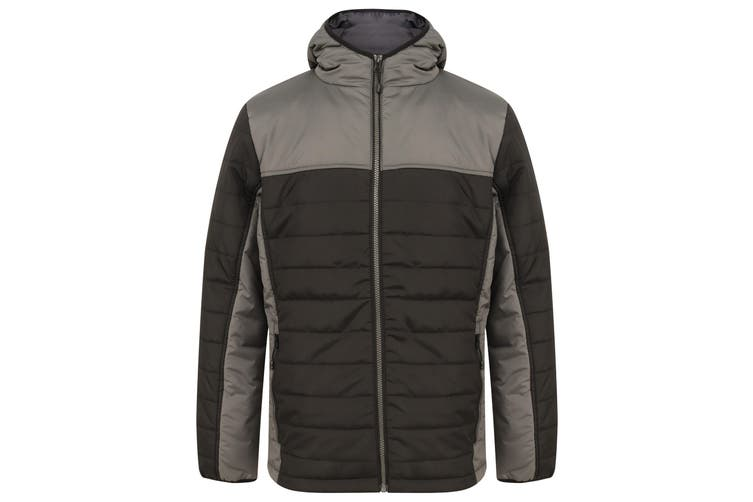 Finden and Hales Unisex Adults Hooded Contrast Padded Jacket (Black/Gunmetal Grey) (L)