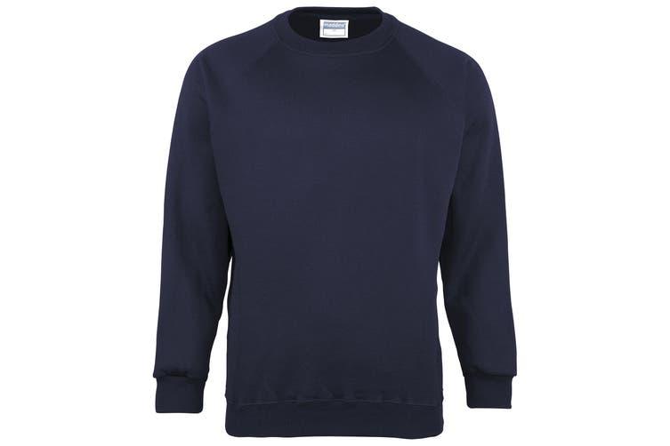 Maddins Kids Unisex Coloursure Crew Neck Sweatshirt / Schoolwear (Navy) (30)