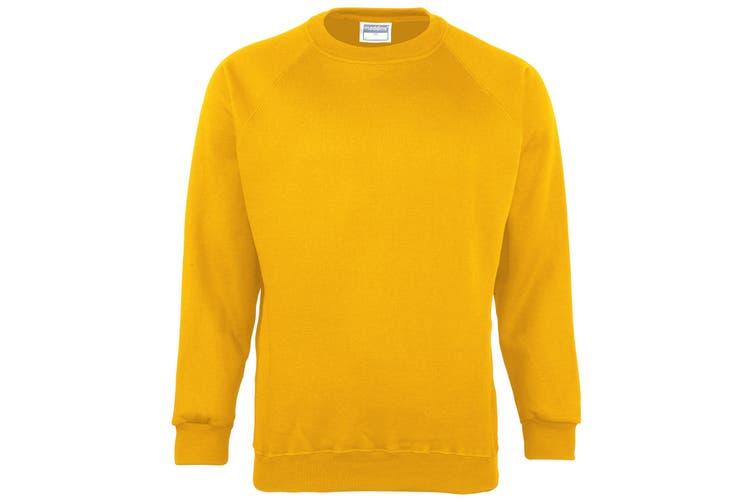 Maddins Kids Unisex Coloursure Crew Neck Sweatshirt / Schoolwear (Sunflower) (30)