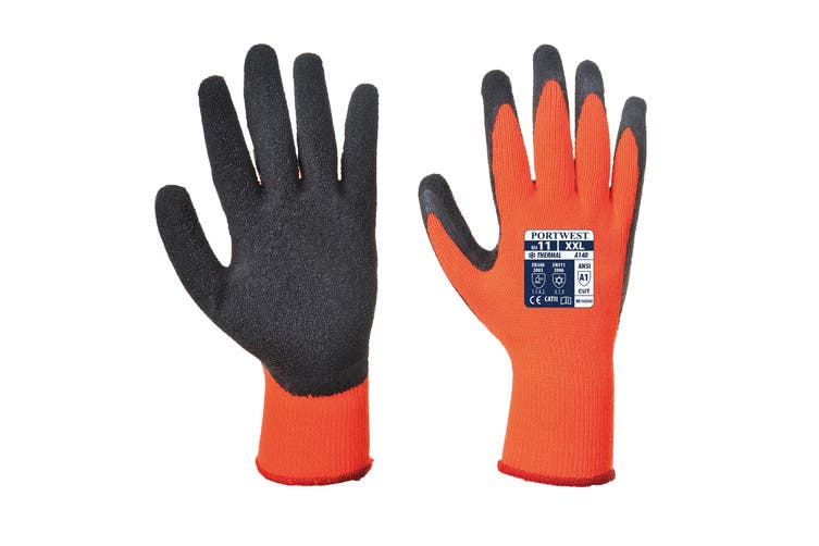 Portwest Thermal Grip Gloves (A140) / Workwear / Safetywear (Orange) (M)
