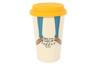 Something Different This Guy Runs On Coffee Travel Mug (Cream) (One Size)