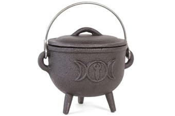 Something Different 11cm Cast Iron Cauldron With Triple Moon (Black) (One Size)