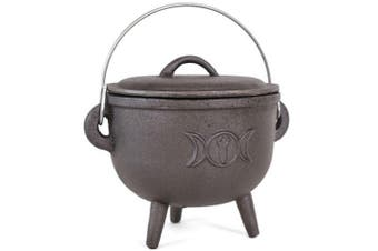Something Different 15cm Cast Iron Cauldron With Triple Moon (Black) (One Size)