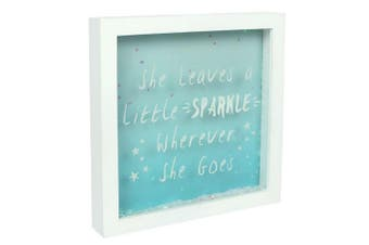 Something Different She Leaves A Little Sparkle Glitter Box Frame (White/Blue) (One Size)