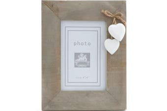 Something Different Driftwood Single White Heart Photo Frame (Brown) (One Size)
