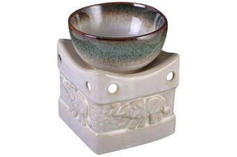 Something Different Two Tone Elephant Oil Burner (Cream/Green) (One Size)