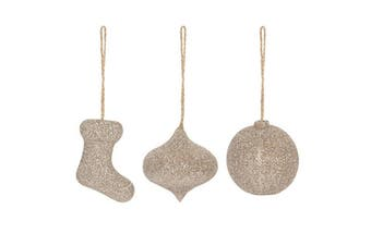 Something Different Sparkle Stocking Christmas Ornament (Set Of 3) (Gold) (One Size)