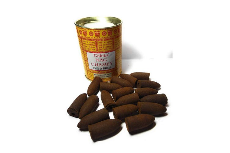 Goloka Nag Champa Incense Backflow Cones (Pack Of 24) (Brown) (One Size)