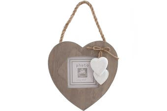 Something Different Driftwood Single Heart Frame (White/Brown) (One Size)