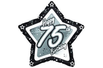 Creative Party Happy 70th Birthday Black/Silver Star Balloon (Black/Silver) (18in)