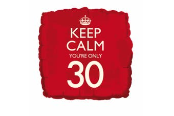 Creative Party Keep Calm Youre Only 30 Square Foil Birthday Balloon (Red) (18in)