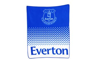 Everton FC Official Fade Football Crest Design Fleece Blanket (Blue/White) (One Size)