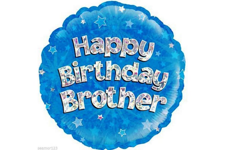 Oaktree 18 Inch Happy Birthday Brother Foil Balloon (Blue) (18 Inch)