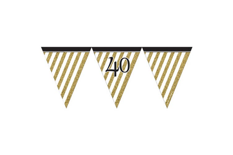 Creative Party Black And Gold Milestone Paper Flag Bunting (Black/Gold) (60)
