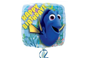 Anagram 18 Inch Finding Dory Happy Birthday Square Foil Balloon (Blue) (One Size)