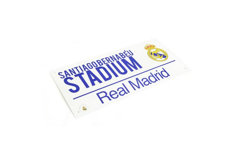 Real Madrid CF Official  Football Stadium Street Sign (White/Blue) (One Size)