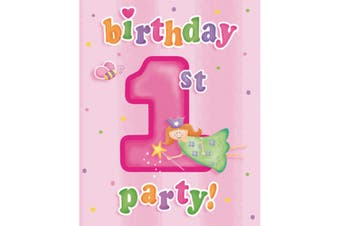 Creative Party Fun At 1 Birthday Invitations (Pack Of 8) (Pink) (One Size)