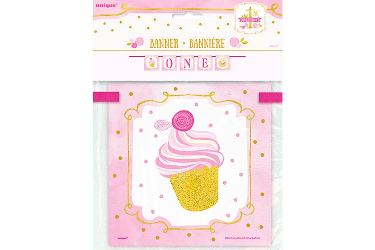 Unique Party Pink/Gold 1st Birthday 12 feet Block Banner (Pink/Gold) (One Size)