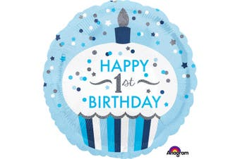 Anagram 18 Inch 1st Birthday Cupcake Circle Boy Foil Balloon (Blue) (One Size)
