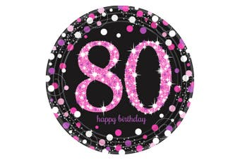 Amscan Prism Pink 80th Birthday Celebration Plates (Pack Of 8) (Pink/Black) (One Size)