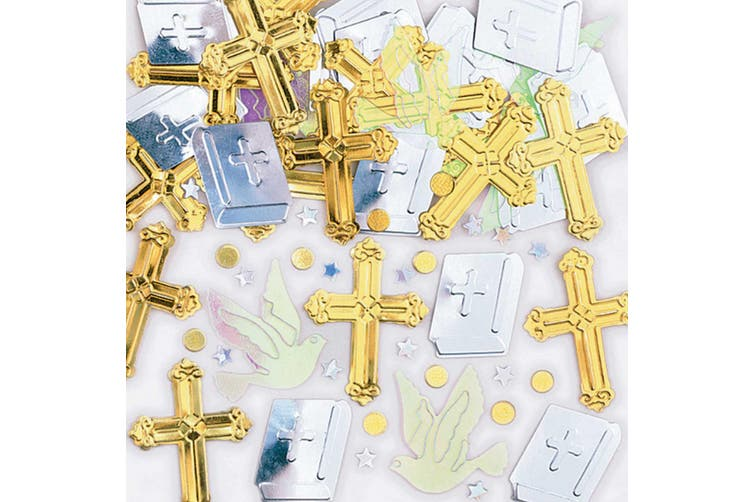 Amscan Rejoice Crosses Metallic Confetti (Gold/Silver) (One Size)