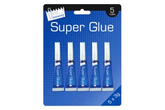 Just Stationery 3g Tube Super Glue (Pack Of 5) (Clear) (One Size)