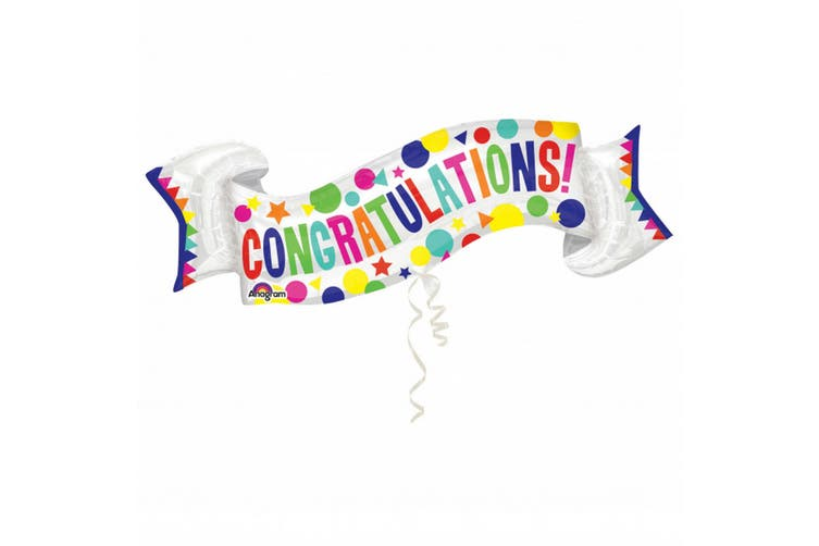 Anagram Congratulations Banner Supershape Foil Balloon (Multicoloured) (One Size)