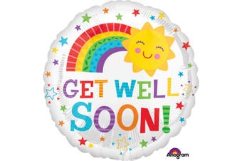 Anagram 18 Inch Get Well Soon Happy Sun Circle Foil Balloon (White/Multicoloured) (18 inch)