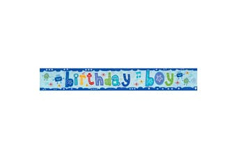 Amscan Birthday Boy Holographic Foil Banner (Blue) (One Size)