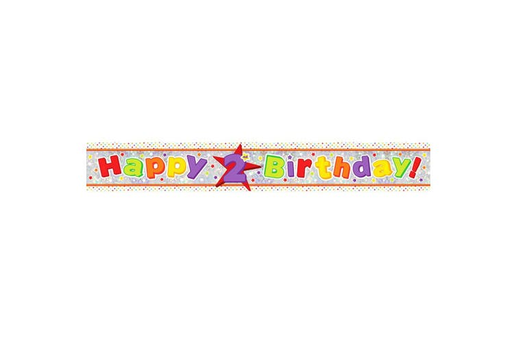Amscan Happy 2nd Birthday Holographic Foil Banner (Multicoloured) (One Size)