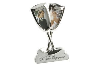 Widdop Juliana 2 Tone Silver Plated Champagne Flutes Engagement Photo Frame (Silver) (One Size)